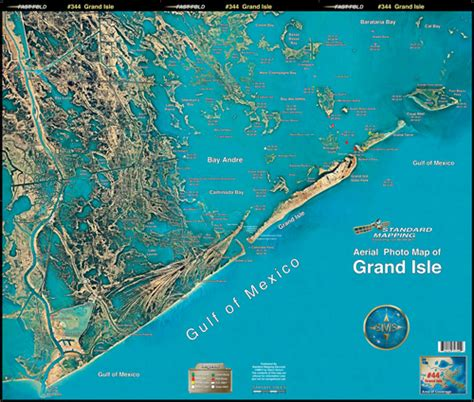 louisiana fishing map grand isle aerial chart la44 keith map service inc