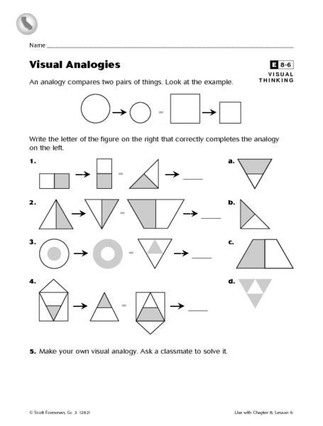 verb pattern raise math analogies worksheet free visual analogies 4th 8th