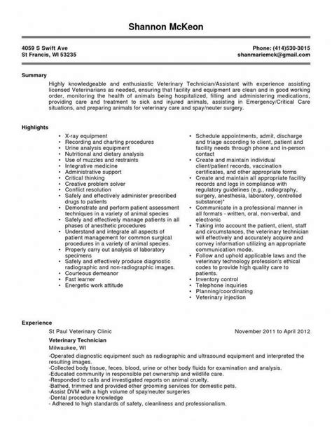 Resume Skills Veterinary Assistant Veterinary Technician Resume Haadyaooverbayresort
