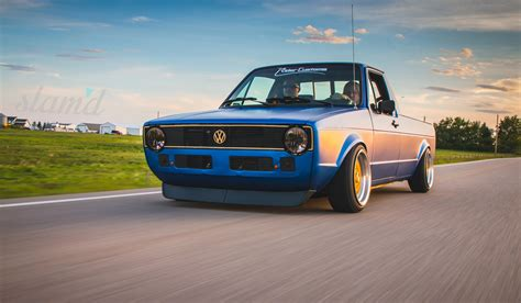 volkswagen rabbit truck custom built to drive the dub dynasty 1981 vw caddy slam d mag