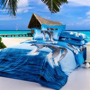 blue dolphin animal oil printed duvet cover sets queen