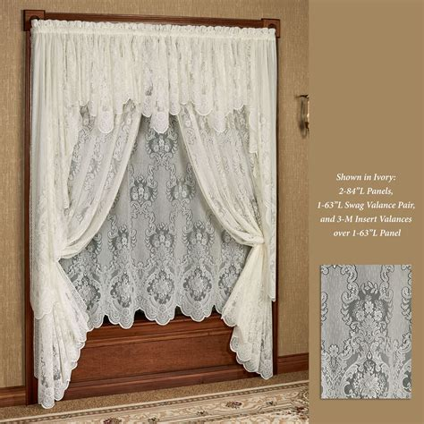 lace swag valance curtains vanessa lace long swag valance window treatment