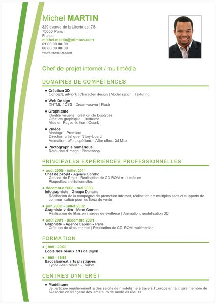 Exemple Type Cv by Exemple De Cv Thematique Emploi Mod 232 Le Cv Exemple Cv