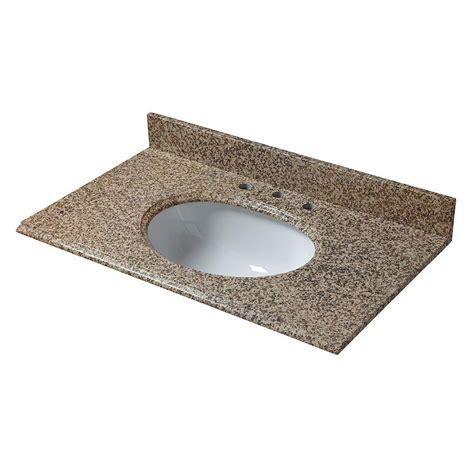 Vanity Tops And Bowls by Pegasus 37 In Granite Vanity Top In Montesol With White