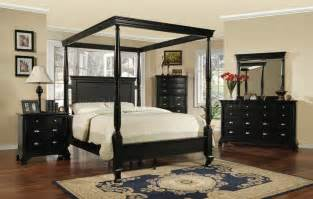 Black King Canopy Bedroom Sets Black Transitional 6 Pc Canopy Bedroom Set