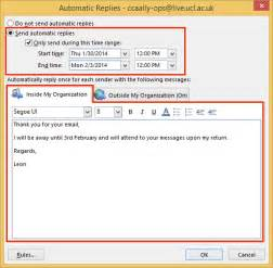 auto reply email template set automatic reply out of office message in outlook 2013