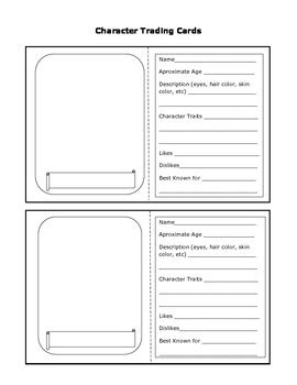 characters cards template character trading cards by sassycat corner teachers pay