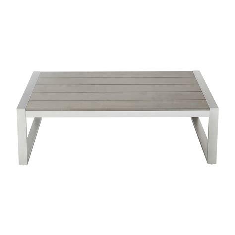 table exterieur metal table basse de jardin en composite imitation bois et aluminium l 110 cm brisbane maisons du monde