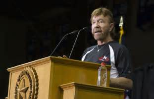 Chuck norris delivers the mclane lecture at the university of mary