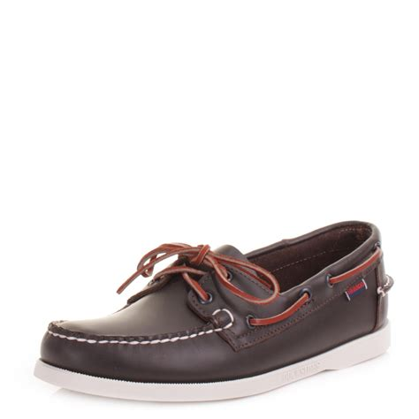mens sebago docksides wine leather handsewn deck boat