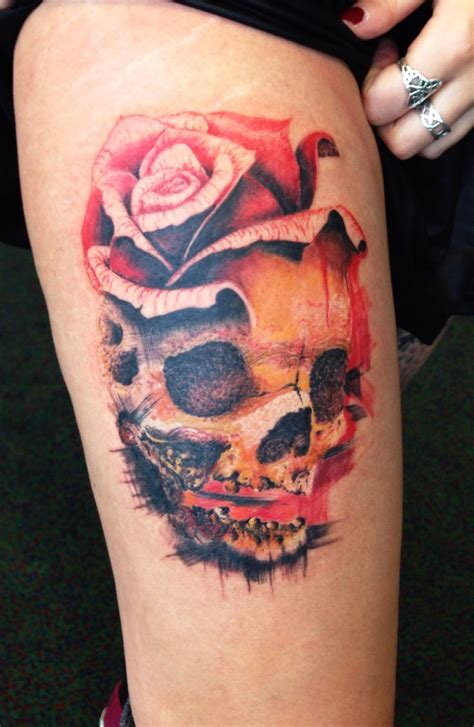 skull amp rose tattoo my tattoos portfolio pinterest