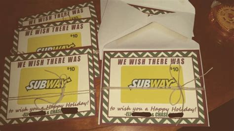 Subway Gift Card Check - subway gift card teacher holiday or christmas present teacher appreciation