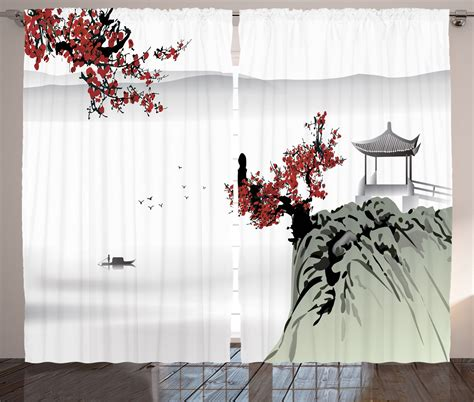 japanese decor curtains 2 panels set cherry blossom home asian culture river scenery with cherry blossoms and boat