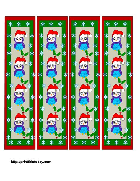 printable xmas bookmarks owl christmas printable stationery bookmarks candy