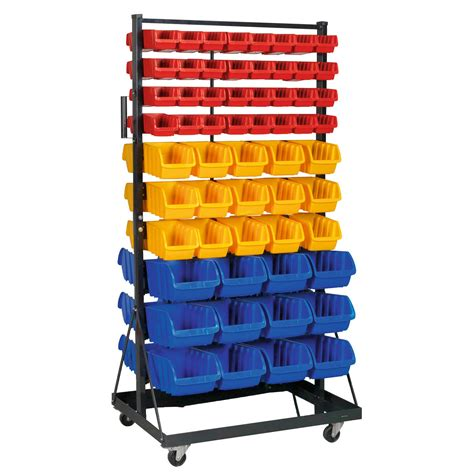 sealey steel rack mobile bin storage system with castors