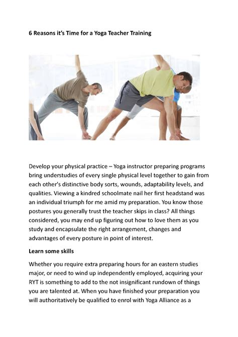 yoga tutorial in pdf 6 reasons yoga teacher training pdf authorstream