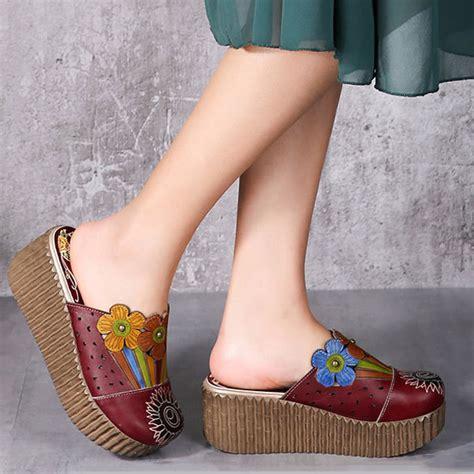 Sandal Cewek Original Handmade socofy original handmade flower slip on retro sandals ebay