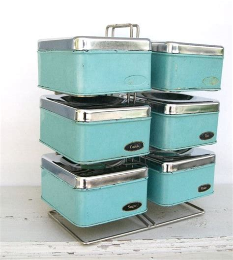 vintage waratah red aluminium chome kitchen canisters set of six vintage aqua chrome kitchen storage canisters