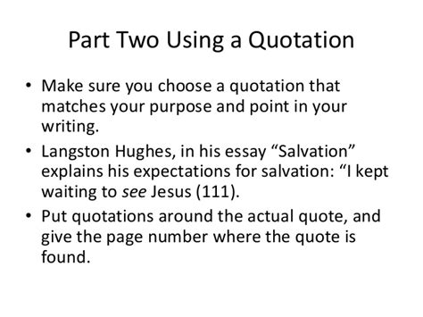 Langston Hughes Salvation Essay by Citing A Quotation And Documentation 2