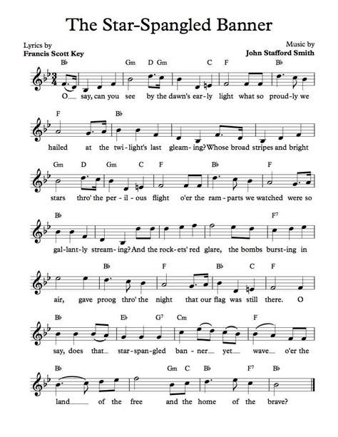 printable music banner free sheet music free lead sheet the star spangled