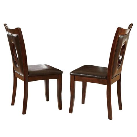 Home Depot Dining Chairs Homesullivan Brown Faux Leather Dining Chair Set Of 2 402568brs2pc The Home Depot