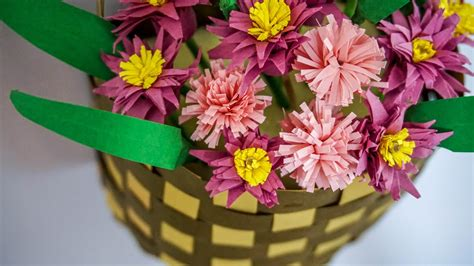 How To Make Paper Flower Basket - crafts with paper paper flower basket handiworks 70