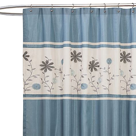 bed bath and beyond blue curtains buy monica blue fabric shower curtain from bed bath beyond