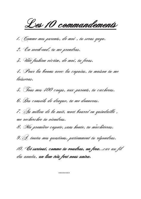 Comptoir De Famille Sverige by Charmant 10 Commandements Futur Papa 2 Parchemin 10
