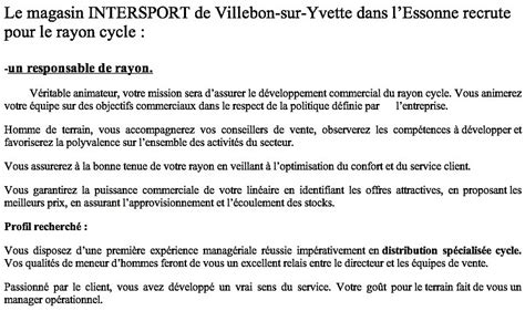 Lettre De Motivation Vendeuse Intersport Infos Vtt 4 Postes 224 Pourvoir Chez Intersport