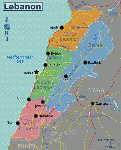 middle east map lebanon map of lebanon overview map regions worldofmaps net