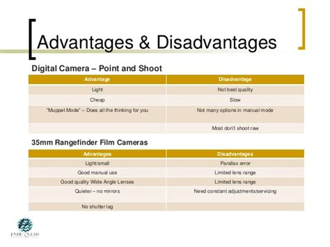 Benefits Of Digital Cameras by Intro To The Digital Slr