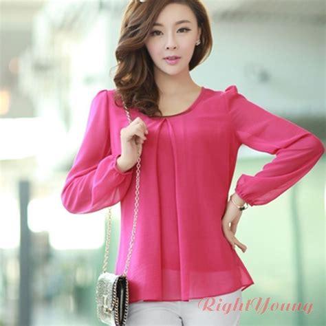 Korean Blouse korean fashion chiffon tops sleeve shirt casual blouse xl ebay