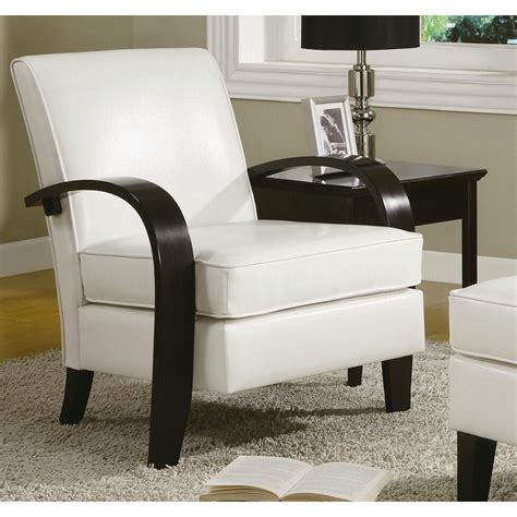 wonda white bonded leather accent chair  wood arms ebay