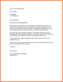 Letter Of Resignation With Regret by Letter Sle Letter Of Resignation Template Resigning