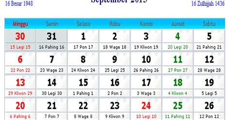 kalender indonesia september  kalender indonesia