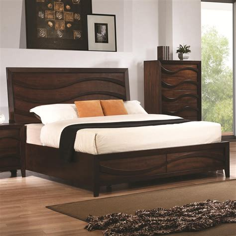 wood king bed coaster 203101kw brown california king size wood bed