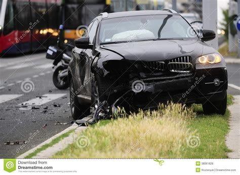 Damaged Black Car After Accident With Tram Editorial Stock