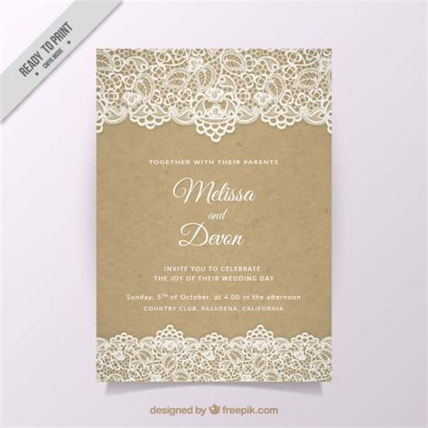 vintage wedding invitation with lace vector free