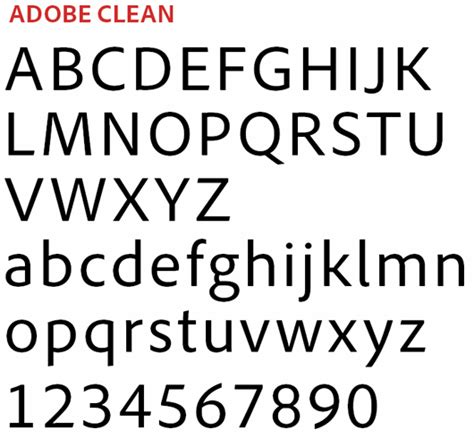 font design adobe adobe clean typeface used in creative suite icons is