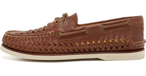 sperry top sider gold a o 2 eye woven boat shoe in brown