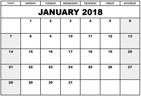 free weekly calendar template printable calendar 2018 free january 2018 printable