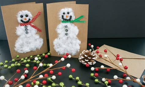 cotton diy christmas diy cotton snowman cards the budget