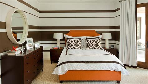 orange and brown bedroom brown striped bedroom walls design ideas