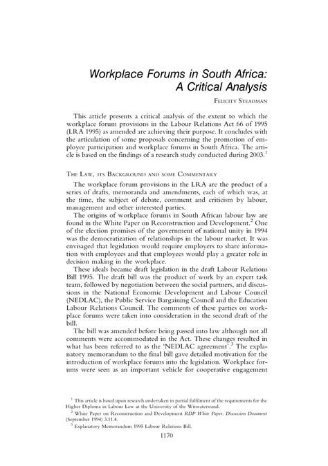 Workplace Forums in South Africa: A Critical Analysis 25