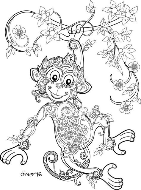 monkey coloring pages for adults monkey adult coloring book animals pinterest