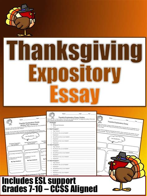 Thanksgiving Essay by Thanksgiving Essay Grades 7 10 Ccss Aligned Thanksgiving Student And Esl