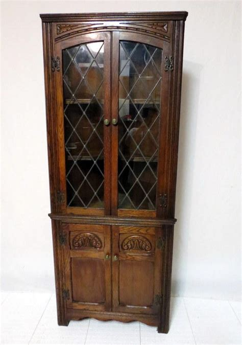 Antique China Cabinet With Glass Doors Antique Edwardian Carved Golden Oak Corner Cabinet China Display Curio Cupboard Leaded