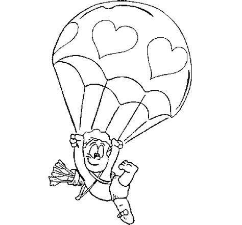 Cupid In A Parachute Coloring Page Coloringcrew Com Parachute Coloring Pages
