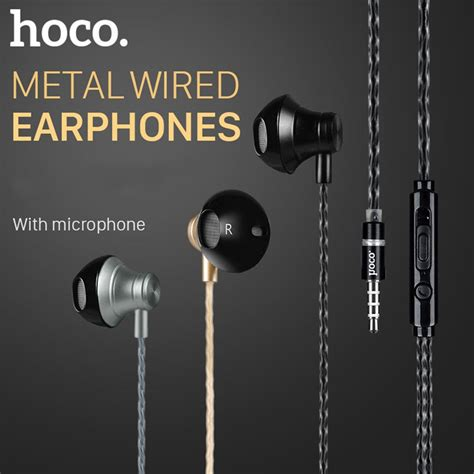Hoco Earphone Earbud Dengan Mic M1 hoco m18 noise cancelling heavy bass wired 3 5mm in ear earphone earbuds with mic for xiaomi