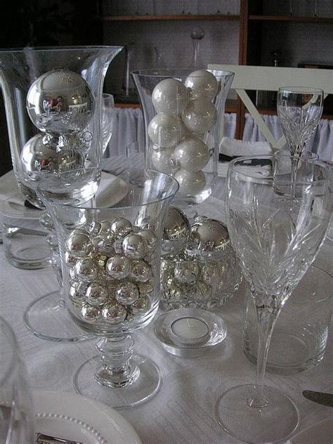 Silver Table Decorations by Black White Silver Table Setting Reception